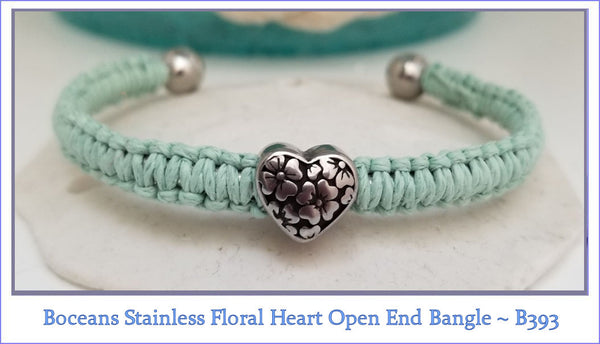 Boceans Stainless Floral Heart Open End Bangle ~ B393 - Boceans of Cape Cod