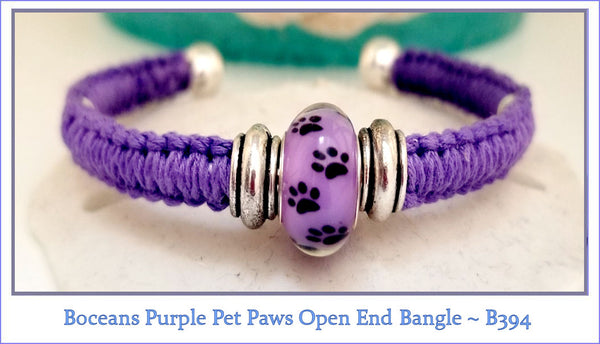 Boceans Purple Pet Paws Open Ball End Bangle ~ B394 - Boceans of Cape Cod