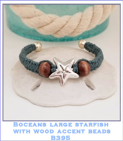 Bocean's Large Star fish (Star of the Sea) With Wood Accents Ball End Bangle Bracelet ~ B395 - Boceans of Cape Cod