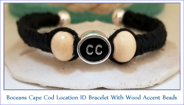 Boceans Location ID Bracelet With Wood Accents (Cape Cod bead shown) - Boceans of Cape Cod