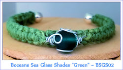 "Boceans Sea Glass Shades Bracelet ""Green"" ~ BSGS02 - Boceans of Cape Cod"