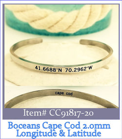Cape Cod  Longitude & Latitude Coordinates Open Cuff Bangle ~2.0 Small-Large - Boceans of Cape Cod