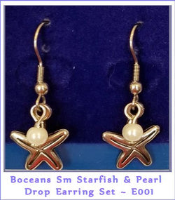 Boceans Starfish & Pearl Drop Hanger Earrings ~ E001 - Boceans of Cape Cod