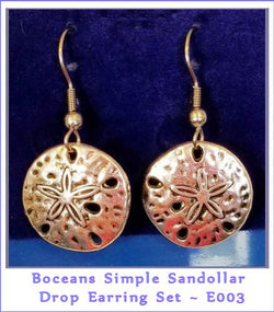 Boceans Simple Sandollar  Earrings ~ E003 - Boceans of Cape Cod