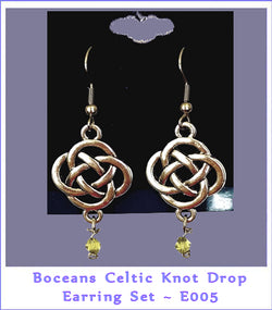 Celtic Knot & Bead Drop Hook Earrings - E005 - Boceans of Cape Cod