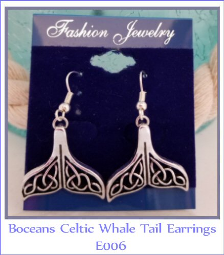 Celtic Whale Tail Dangle Earrings - E006 - Boceans of Cape Cod