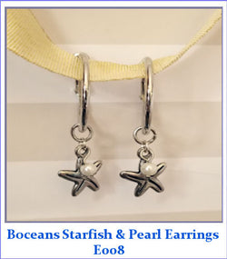 Boceans Starfish & Pearl Hoop Earrings ~ E008 - Boceans of Cape Cod