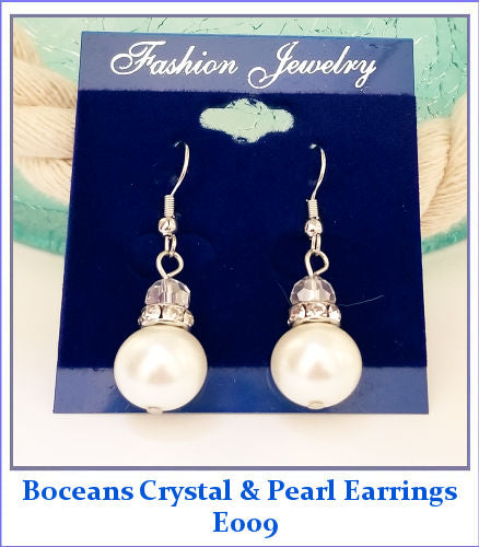 Boceans Crystal & Pearl Earrings ~E009 - Boceans of Cape Cod
