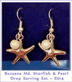 Boceans Medium Starfish & Pearl Drop Hanger Earrings ~ E014 - Boceans of Cape Cod