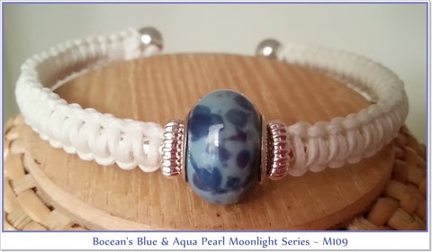 Bocean's Moonlight Series ~ Aqua and blue pearl bangle bracelet,glows in the dark~ M109 - Boceans of Cape Cod
