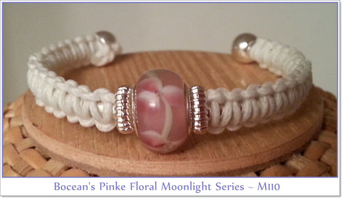 Bocean's Pink Floral Moonlight Series Ball End Bangle ~ M110 - Boceans of Cape Cod