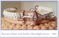 Bocean's Rope & Anchor Moonlight Series Cuff Bracelet ~ M111 - Boceans of Cape Cod