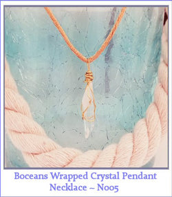 Boceans Wrapped Crystal Pendant Necklace ~N005 - Boceans of Cape Cod