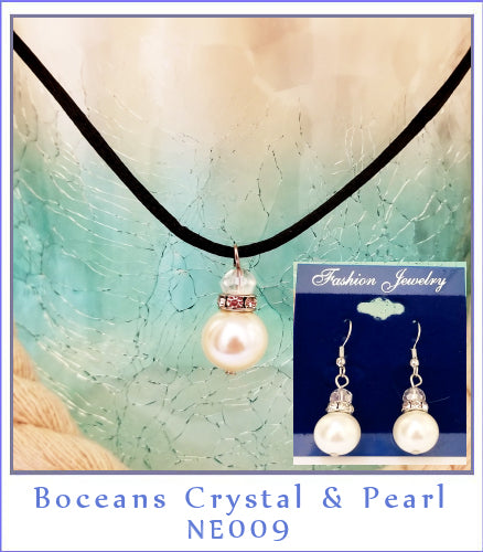 Boceans Crystal ,Pearl Necklace & Earring Set~NE009 - Boceans of Cape Cod