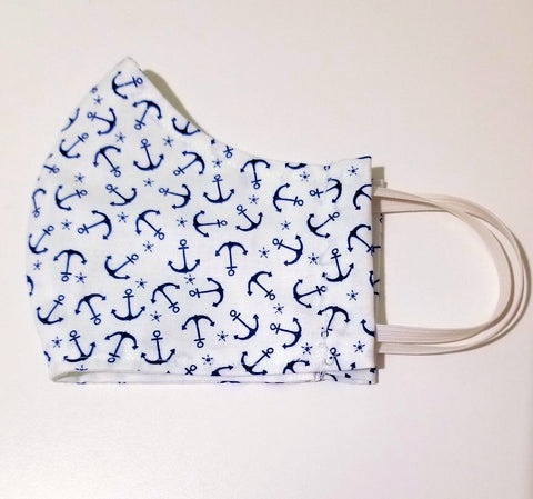 "Protective Face Mask - ""Anchors Away"" White With  Tiny Navy Blue Anchors - Boceans of Cape Cod"