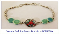 Boceans Red Southwest Bracelet ~BEBRSW01 - Boceans of Cape Cod
