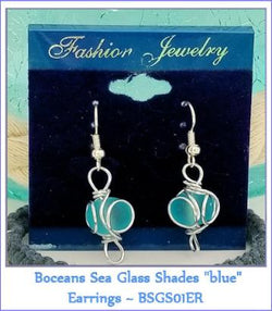 "Boceans Sea Glass Shades ""Blue"" Earrings ~ BSGS01ER - Boceans of Cape Cod"