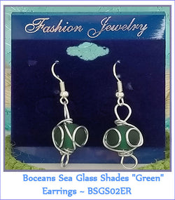 "Boceans Sea Glass Shades ""Green"" Earrings ~ BSGS02ER - Boceans of Cape Cod"
