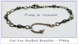 Got You Hooked ~ FIN04  Gun Metal and Silver - Boceans of Cape Cod