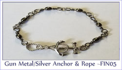 G Metal/Silver Anchor & Roper ~ FIN05 - Boceans of Cape Cod