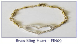 Brass Bling Heart ~ FIN09 - Boceans of Cape Cod