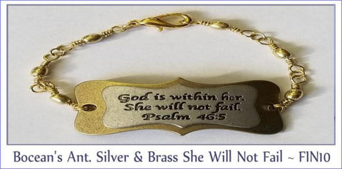 Bocean's Antique Silver & Brass She Will Not Fail ~ FIN10 - Boceans of Cape Cod