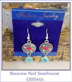 Boceans Red Southwest Earrings ~ERRW01 - Boceans of Cape Cod