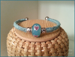Boceans Light Blue Woven Ball End Bangle Glass Heart Design Gromet Bead~B196 - Boceans of Cape Cod