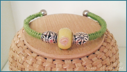 Boceans Lime and Yellow Gromet Bead Ball End Bangle ~B190 - Boceans of Cape Cod