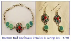 Boceans Red Southwest Bracelet & Earring Set ~ SR01 - Boceans of Cape Cod