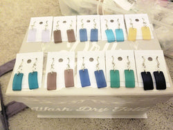 Boceans Rectangle Sea Glass Earrings & Necklace Set - Boceans of Cape Cod