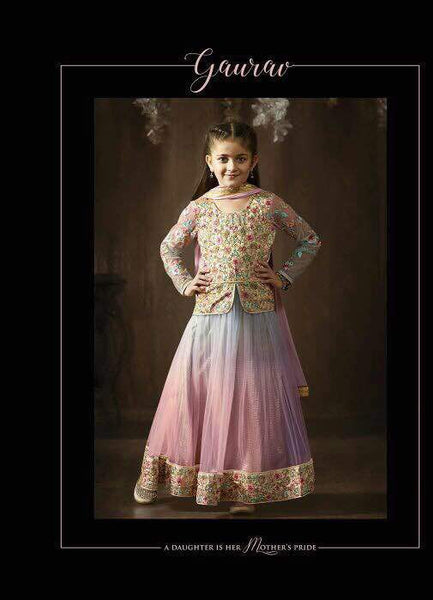 Kids Shaded Net Embroidered Anarkali Suit