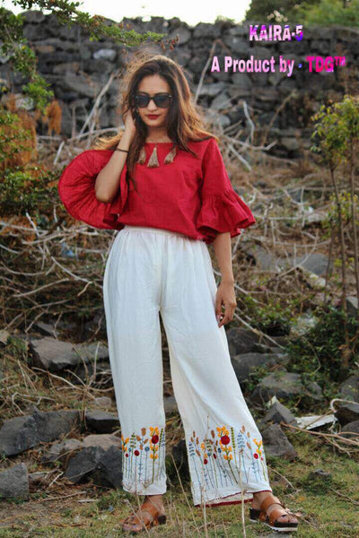 Red and white top and palazzo