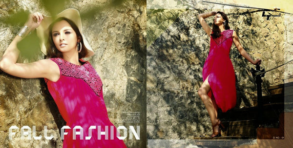 Hot pink balloon pattern georgette kurti with embroidery from jaipurfashions