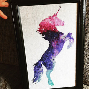 cross stitch chart galaxy unicorn