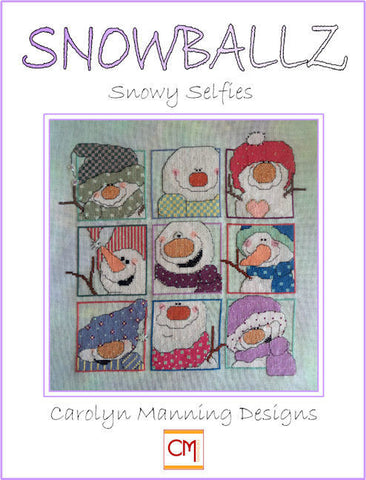 Snowballz Snowy Selfies Carolyn Manning Cross Stitch Chart