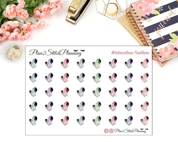 Watercolour Feathers Planner Stickers