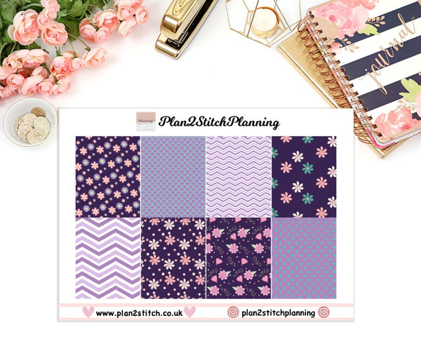 Purple Flower Full Box Erin Condren Planner Stickers