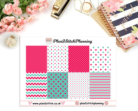 Pink & Green Polka Dot Full Box Erin Condren Planner Stickers