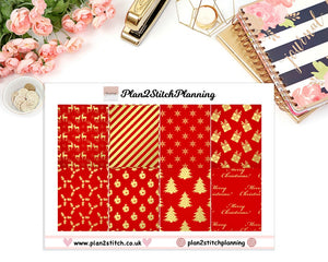 Royal Red Christmas Full Box Erin Condren Planner Stickers