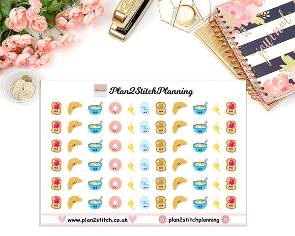 Kawaii Breakfast Planner Stickers