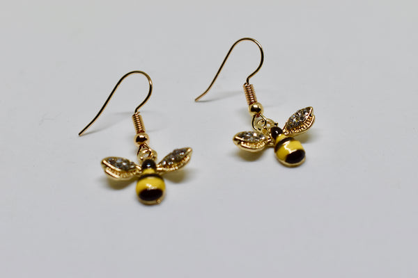 Bumble Bee Rhinestone Dangly Earrings