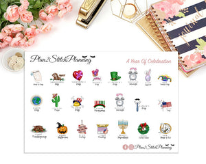 A Year Of Celebration Planner Stickers