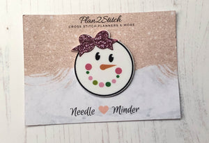 Sallyann and her Glittery Bow Snow Woman Needle Minder