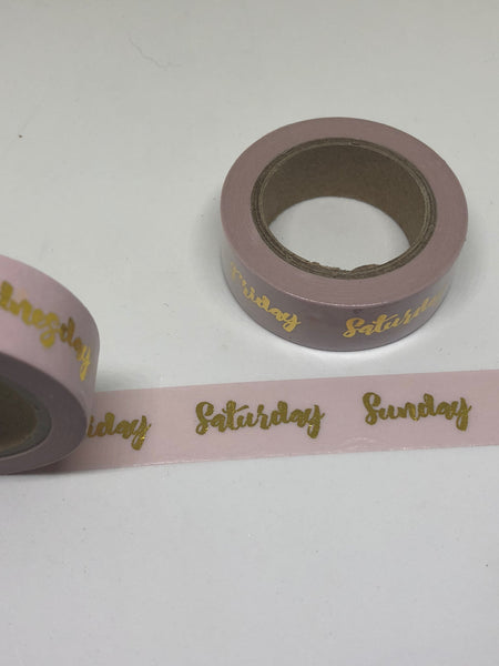 Pink Days of the Week Gold Foil Washi Tape