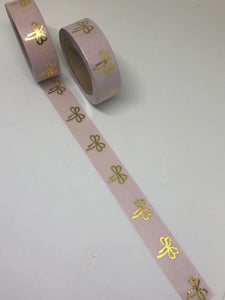 Pink Bow Gold Foil Washi Tape