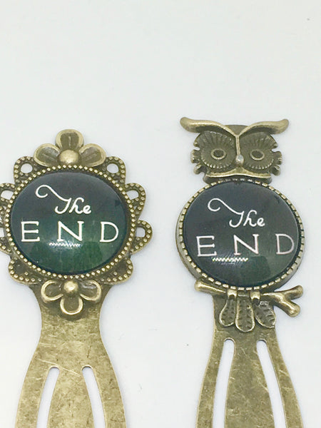 Antique Bronze The End Bookmark