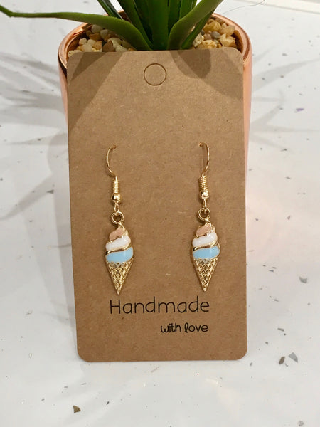 Champagne Gold Coloured Ice Cream Dangly Earrings