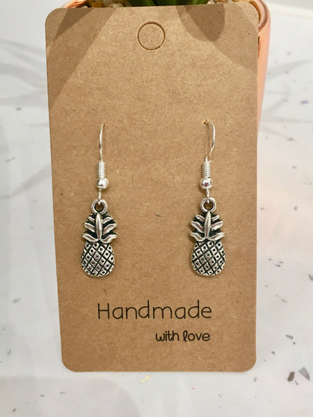 Pineapple Antique Silver Dangly Earrings