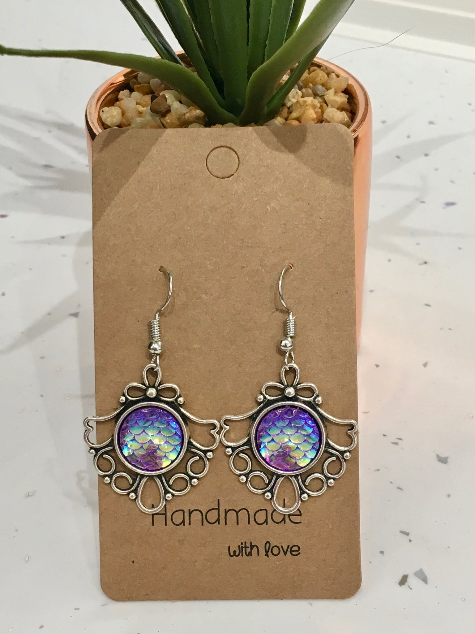 Purple Mermaid Scales Antique Silver Dangly Earrings